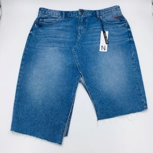 NWT Noisy May Asymmetrical Raw Hem Denim Skirt L